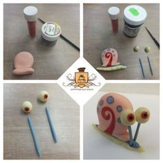 Turorial : How to make characters of SpongeBob SquarePants in polymer clay… Fondant Cake Toppers, Fondant Figures, Cupcake Cakes, Clay Projects, Clay Crafts, Diy Clay, Fondant Animals, Cute Clay, Fondant Tutorial