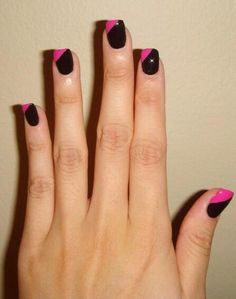 """Wowed by this hot neon pink and black take on the """"Color Eclipse"""" mani by @luv4cars.  #colorshowoff"""