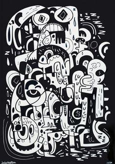 Jon Burgerman / I Am In Paralysis / No Walls Gallery, Brighton