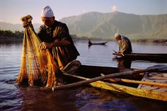 Fishermen Checking Their Nets | Kashmir - Steve Mccurry