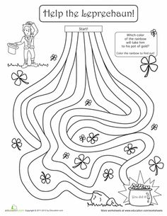 Patrick's Day First Grade Mazes Worksheets: St. Patrick's Day Maze: Help the Leprechaun! St Patricks Day Crafts For Kids, St Patrick's Day Crafts, Diy Crafts, Maze Worksheet, Worksheets, Sant Patrick, St Patrick Day Activities, St Pats, Paddys Day