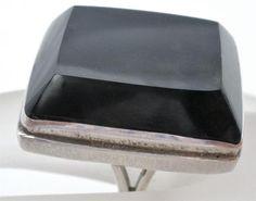 Huge Handmade 950 Sterling Silver Black Onyx Size 7 5 Taxco Estate Ring Vintage | eBay