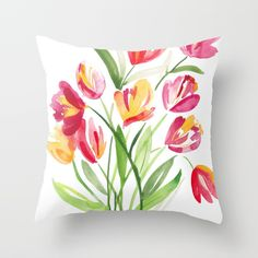 Buy Bouquet of Tulips Throw Pillow by susanbrand. Worldwide shipping available at Society6.com. Just one of millions of high quality products available.
