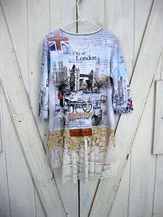 XL Upcycled London tunic funky bohemian tunic junk gypsy