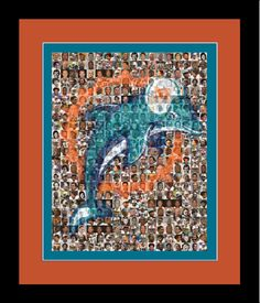 Miami Dolphins Photo Mosaic Print Art Using 100 by TheMosaicGuy, $35.00