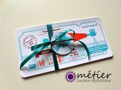 Zaproszenia ślubne www.metier.pl: Zaproszenia ślubne w formie biletu do kina