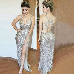 Sheath V-Neck Open Back Long Silver Sequined Prom Dress with Split
