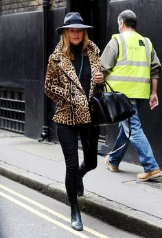 All black with a leopard print coat is my dream uniform