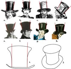Very detailed, proper materials Flared Top Hat Mad Hatter pt. tips and instructions for making a top hat Steampunk Top Hat, Steampunk Costume, Steampunk Fashion, Victorian Fashion, Top Hat Drawing, Top Hat Costume, Mad Hatter Top Hat, Leather Top Hat, Hat Template