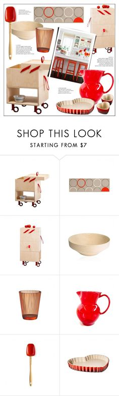 """""""Red Kitchen"""" by lovethesign-eu ❤ liked on Polyvore featuring interior, interiors, interior design, home, home decor, interior decorating, Le Creuset, kitchen, red and Home"""