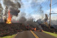 Hawaii's Kilauea Volcano erupts - Lava advances along a street near a fissure in Leilani Estates, on Kilauea Volcano's lower East Rift Zone, Hawaii, on May Hawaii Volcanoes National Park, Volcano National Park, National Parks, Big Island Hawaii, Lava Flow, Science Photos, Hawaiian Islands, Photos Of The Week, Geology