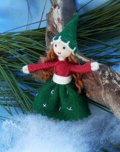 Miniature Christmas Elf Girl -Bendy Doll Ornament by WildflowerInnocece for $18.99