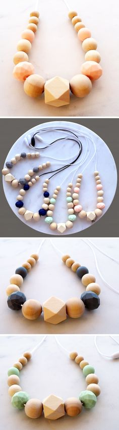Women's Teething Necklace - stylish teething accessories handmade from 100% non-toxic silicone and wooden beads by Zie and Me - they make teething jewellery for dad's too!