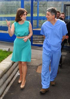 Princess Eugenie meets Consultant Orthopaedic Surgeon, Mr Jan Lehovsky during a visit to Royal National Orthopaedic Hospital on 02.04.14 in Stanmore, Greater London, England.