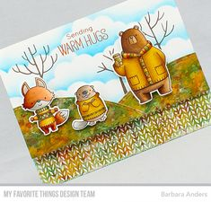 Paper Pursuits: Sending Warm Hugs–MFT September Release Countdown, Day Five Winter Cards, Fall Cards, Halloween Cards, Fall Halloween, Sending Hugs, Warm Hug, Mft Stamps, Thanksgiving Cards, Animal Cards