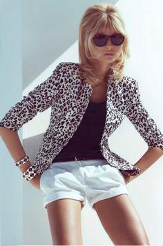 white leopard blazer & white shorts