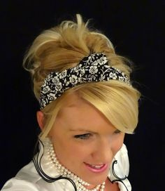 stretch  bow headbands for adults | ... white small floral bow stretch headband for adult/kid/infant on Wanelo