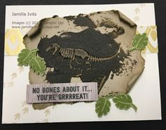 "Created with Stampin' Up! supplies: ""No Bones About It"" stamp set (138756) EmbossingPaste (141979) Eastern Palace DSP (144147) Wood Textures DSP stack (144177)"