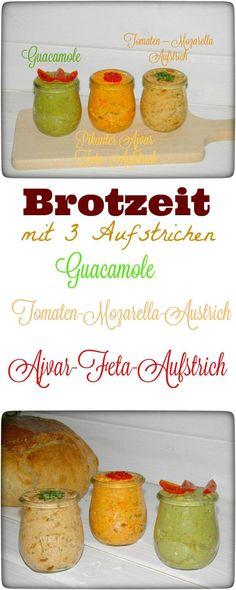 Frisches Holzofenbrot und 3 Aufstriche – mehr brauche ich nicht für leckere Brotzeit. Die Guacamole schmeckt besonders gut zu Nachos und der Tomaten-Mozzarella Aufstrich und der pikante Ajvar-Feta-Aufstrich ist lecker zu frischen Brot und Baguette. Im Thermomix in 3 Minuten hergestellt. #aufstrich #vegetarisch #guacamole