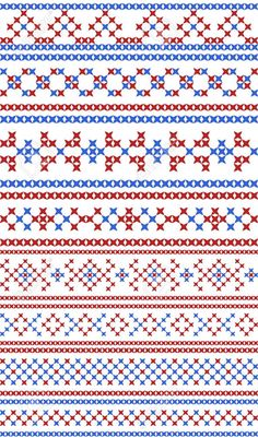 Illustration of Russian traditional seamless patterns. The cross-stitch. Set of borders and frames. Red and blue colors. vector art, clipart and stock vectors. Russian Cross Stitch, Cross Stitch Thread, Beaded Cross Stitch, Cross Stitch Borders, Cross Stitch Designs, Cross Stitch Embroidery, Embroidery Patterns, Cross Stitch Patterns, Granny Square Häkelanleitung