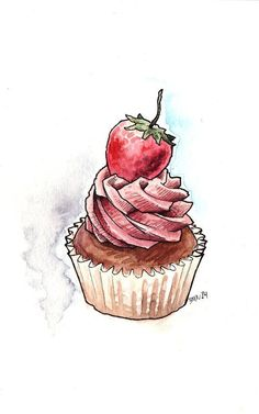 Cupcake ♥ ♥ noms cupcake art, cupcake illustration и watercolor food. Cupcake Illustration, Watercolor Illustration, Watercolor Drawing, Cupcake Kunst, Cupcake Art, Cupcake Drawing, Chocolate Strawberries, Chocolate Cupcakes, Watercolor Food
