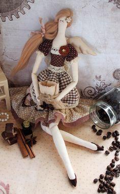 Кукла Тильда кофейная фея 2 - коричневый, кофейный ангел, кофейная фея / handmade fabric doll
