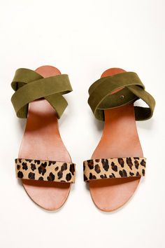 Leopard and Green shoes. open flat sandals