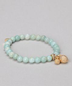 Mint Beaded Charm Bracelet