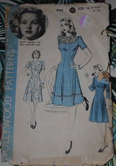 Hollywood 830  Betty Grable Dress pattern 1940s  Size by amypoo41
