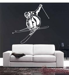 Wall Vinyl Sticker Decals Mural Room Design Pattern bedroom skiing ski sport snow mountains nursery boy bo2694