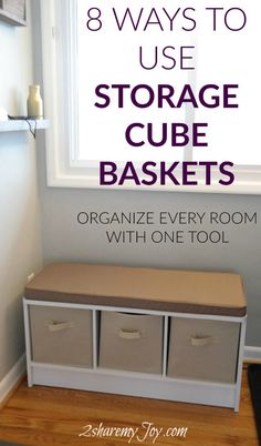 This is the ultimate organizing tool for your whole house. I organize every room with these cloth storage cube basket boxes. They make clean up very easy and keep kitchen, bathroom, electronics, kids toys, kids clothes, socks, underwear, cleaning supplies, scarfs, shoes and more organized and tidy. Very affordable organizing hack! Click through to learn how to organize with the storage cubes