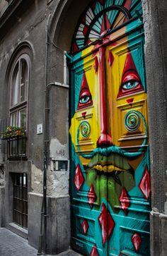Grand Entrance, Entrance Doors, Doorway, Cool Doors, Unique Doors, Murals Street Art, Mural Art, Painted Doors, Door Knockers