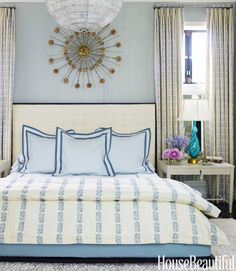 Blue bedroom designed by Hillary Thomas + Jeff Lincoln