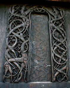 """Celtic doorway (not sure about the age)."" This is beautiful Stave Church, Norway Cool Doors, Unique Doors, Arte Viking, Porte Design, When One Door Closes, Knobs And Knockers, Celtic Art, Closed Doors, Doorway"