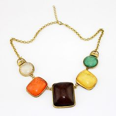 Lovely Resin Women's Necklace In Gold Alloy