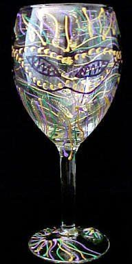 Mardi Gras Mask Design Hand Painted Grande Wine Glass by Bellissimo. $34.95. Bellissimo! is the manufacturer of America's Premier Hand Painted Glassware.. All Bellissimo! merchandise is exquisitely hand painted using an exclusively formulated non-toxic paint.. For generations of pleasure and enjoyment, hand washing is recommended for all Bellissimo! merchandise.. Highly collectible, each piece of Bellissimo! is individually signed by the artist.. Every product is thoroughly...