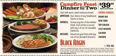 Black Angus: $39.99 Campfire Feast Printable Coupon http://www.pinterest.com/TakeCouponss/black-angus-coupons/