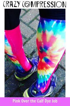 76a190d237 Pink Over the Calf Dye Job Compression Socks #CrazyCompression # compressionsocks Nursing Compression Socks,. Crazy Compression