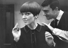 The fashion icon of London, Mary Quant revolutionised the bob in the 60s with the help of Vidal Sassoon. (pic taken in 1964)