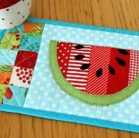 Summer Watermelon Mug Rug - via @Craftsy