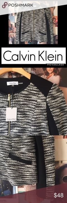 💙CLOSET CLEAR OUT💙Calvin Klein boucle jacket💙 Super classic for work or any business dress occasion, or perfect layered over a plain white tee and distressed jeans. Lightly padded shoulders. Black and white boucle with faux leather accents. Gold hardware with signature zip slider. S. NWT. Calvin Klein Jackets & Coats Blazers