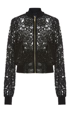 Flower Embroidered Bomber Jacket by ELIE SAAB for Preorder on Moda Operandi