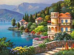 If you are a landscape and natural painting lover then this is the best combination for you. Grab this amazing painting Lakeside Town Beautiful Landscape DIY Paint By Number and take your home decor to the next level Oil Painting On Canvas, Diy Painting, Canvas Art, House Painting, Canvas Size, Diy Canvas, Canvas Frame, Learn Painting, Wall Canvas