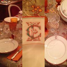 monogramed porcelaine de paris... Saint Ouen, Tables, Monogram, Table Decorations, Home Decor, Mesas, Decoration Home, Room Decor, Monograms
