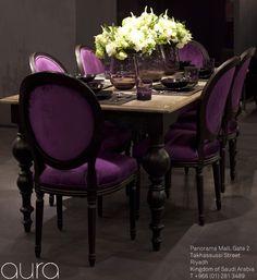 Fantastic Wood & Purple Velvet Dining Room Set.