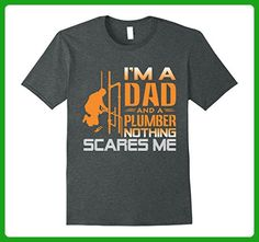 Mens Plumber T Shirt I'm A Dad Nothing Scares Me Father's Day Large Dark Heather - Relatives and family shirts (*Amazon Partner-Link)