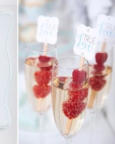 Signature Drink Ideas: Blue and White Cake Table Ideas From KTMoffitt Photography on Wedding Chicks— Loverly Weddings #champagne #raspberries #drinks