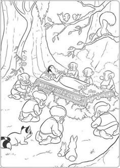 Snow White & the 7 dwarfs Snow White Coloring Pages, Cool Coloring Pages, Cartoon Coloring Pages, Coloring Pages To Print, Printable Coloring Pages, Adult Coloring Pages, Disney Princess Coloring Pages, Disney Princess Colors, Disney Princess Snow White