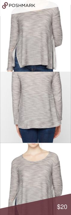 A pea in the pod maternity nursing top MINT a cozy open hacci knit makes for the ideal nursing top. this long sleeve crew neck sweatshirt style piece has open slits on the sides that allow for convenient nursing. laid back has never looked so luxe. nursing top long sleeve scoop neck lift up double opening nursing function novelty fabric cotton/rayon hacci knit hand wash imported A Pea in the Pod Tops