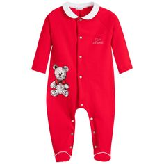 Red cotton jersey babygrow by GF Ferre, suitable for both boys and girls. It has a soft lightweight feel with buttons to fasten down the back and between the legs to help make dressing easier. It has a white collar and trim on the feet, with a grey printed logo on the chest. There is a cute teddy bear print on one side to finish.